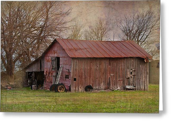 Tractor Barn Greeting Card by Lisa Moore