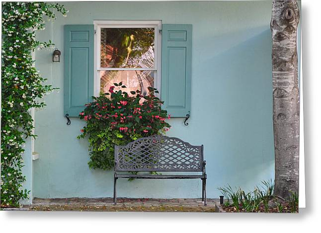 Tradd Street Window Box Tree Greeting Card by Lori Kesten