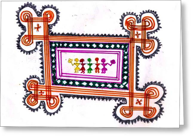 Tradition Art-aunties In Rangoli Greeting Card by Poornima M