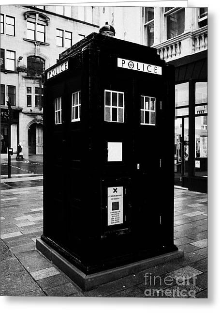 traditional blue police callbox in merchant city glasgow Scotland UK Greeting Card by Joe Fox