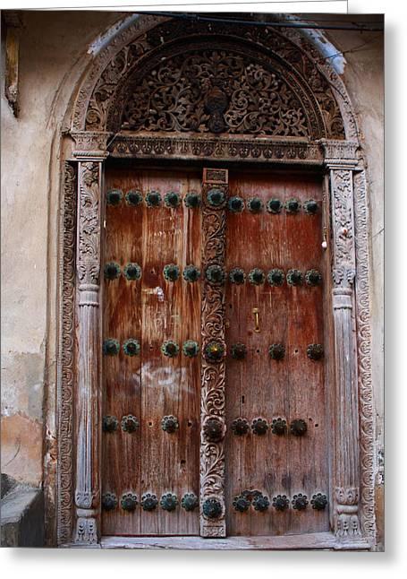 Traditional Carved Door Greeting Card by Aidan Moran