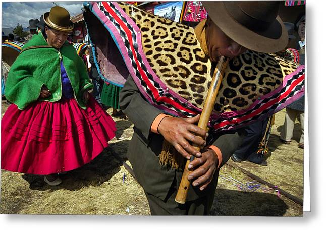 Traditional Dance Of The Bolivian Highlands. Greeting Card by Eric Bauer
