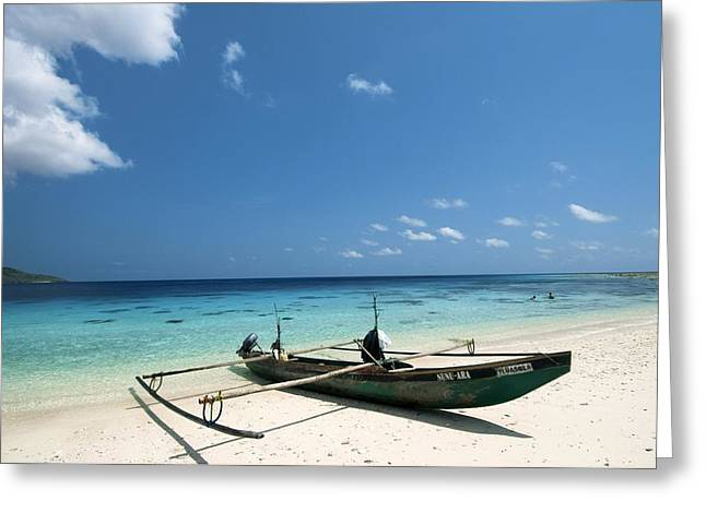 Traditional Fishing Boat, Timor -leste Greeting Card by Louise Murray
