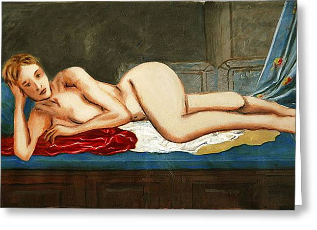 Traditional Modern Female Nude Reclining Odalisque After Ingres Greeting Card by G Linsenmayer
