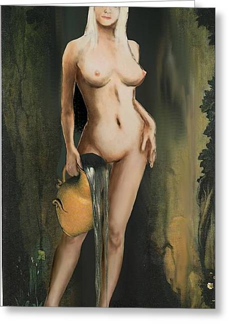 Traditional Modern Female Nude Standing Greeting Card