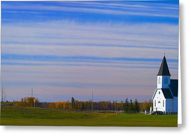 Traditional Prairie Steeple Church In Greeting Card by Corey Hochachka