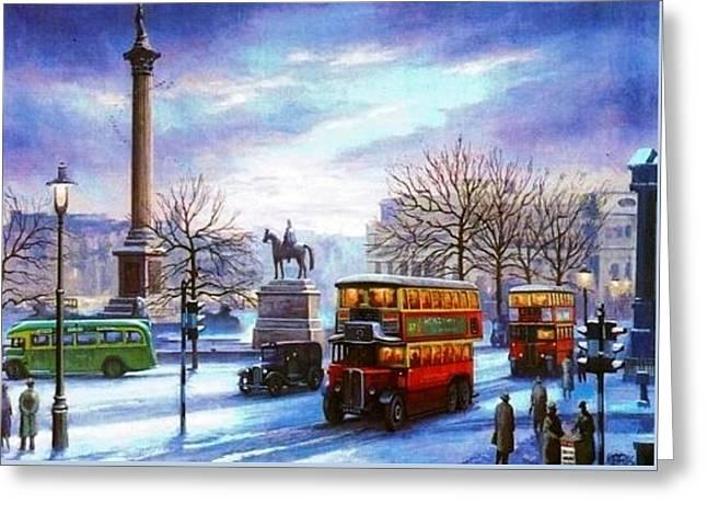 Trafalgar Square 1938 Greeting Card by Mike  Jeffries