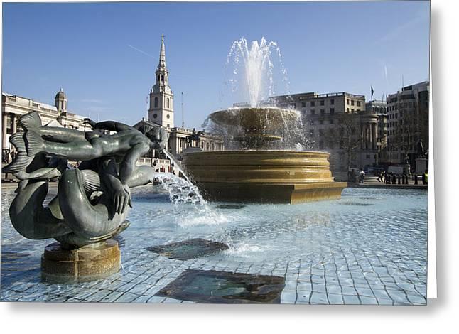 Trafalgar Square Fountains London Greeting Card by David French