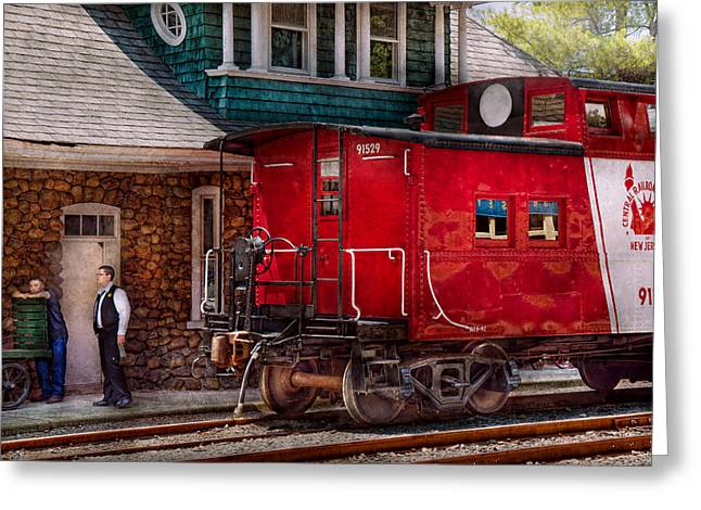 Train - Caboose - End Of The Line Greeting Card by Mike Savad