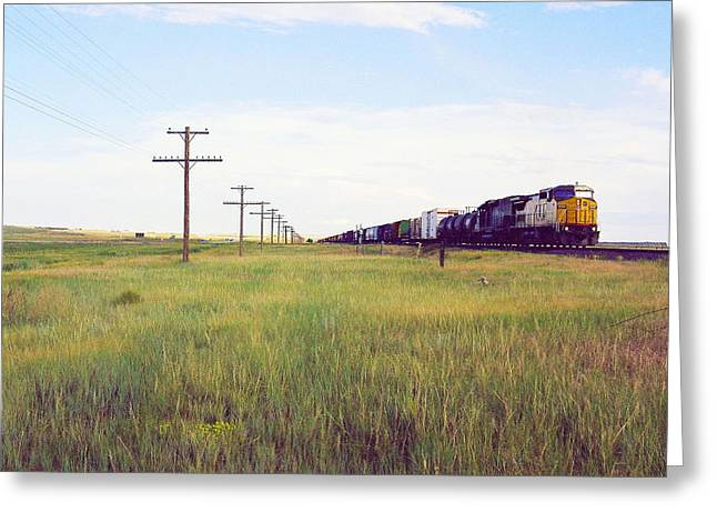 Train And Poles Greeting Card by Trent Mallett