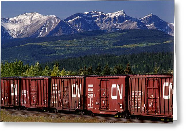 Train And Rocky Mountains, Hinton Greeting Card by Mike Grandmailson