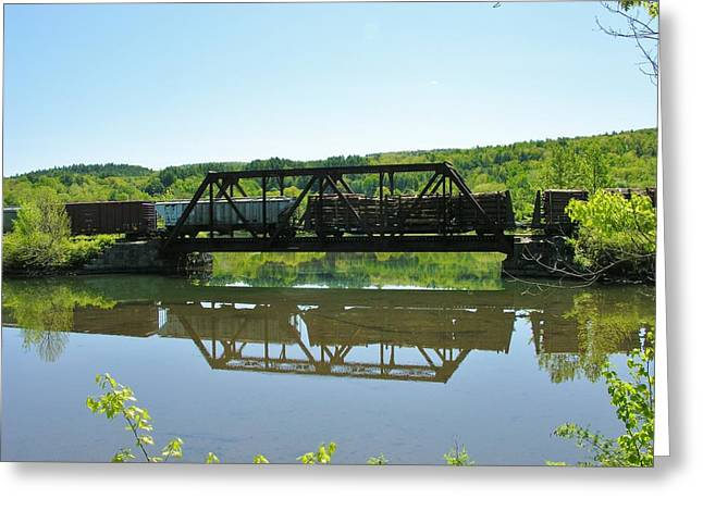 Greeting Card featuring the photograph Train And Trestle by Sherman Perry