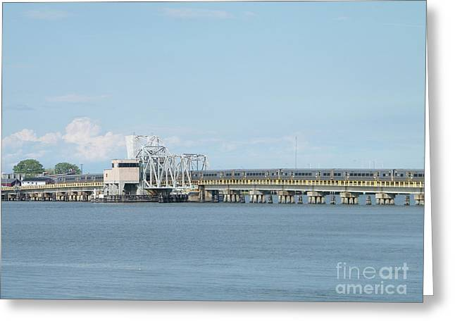 Train Bridge Over The Bay Greeting Card by Laurence Oliver