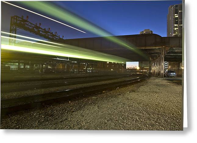 Train Creates Green Streaks Of Light Greeting Card