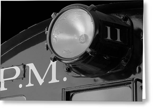 Greeting Card featuring the photograph Train Headlight by Darleen Stry