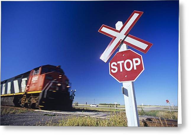 Train Passing Railway Crossing Greeting Card by Dave Reede