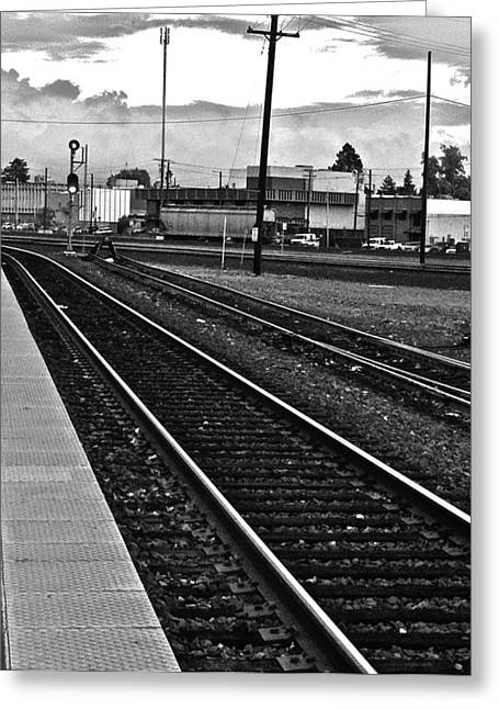 train tracks - Black and White Greeting Card by Bill Owen