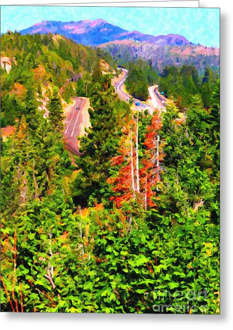 Train Tracks And Highway Coming Down From The Sierra Mountains Greeting Card by Wingsdomain Art and Photography