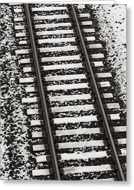 Train Tracks Lightly Covered With Snow Greeting Card
