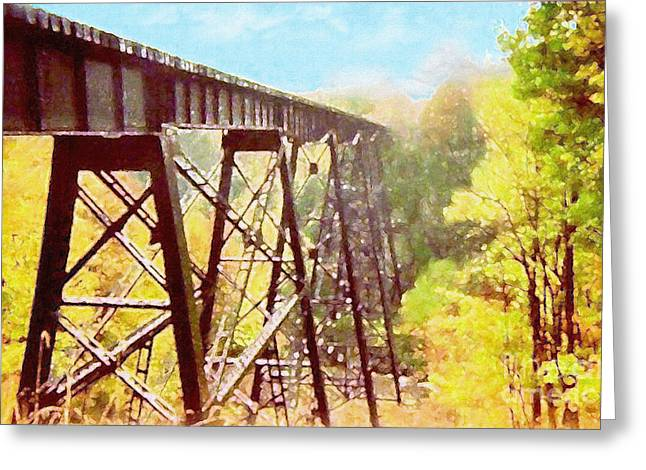 Greeting Card featuring the digital art Train Trestle by Phil Perkins