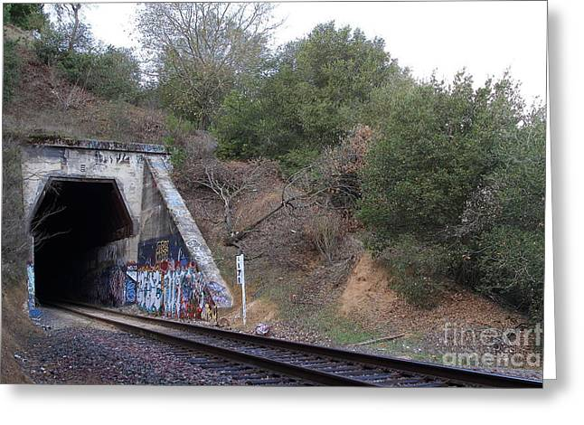 Train Tunnel At The Muir Trestle In Martinez California . 7d10229 Greeting Card by Wingsdomain Art and Photography