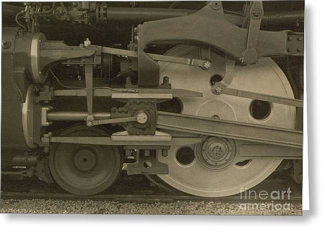 Train Wheels Greeting Card by Photo Researchers