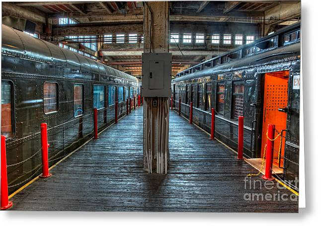 Trains - Two Rail Cars In Roundhouse Greeting Card by Dan Carmichael
