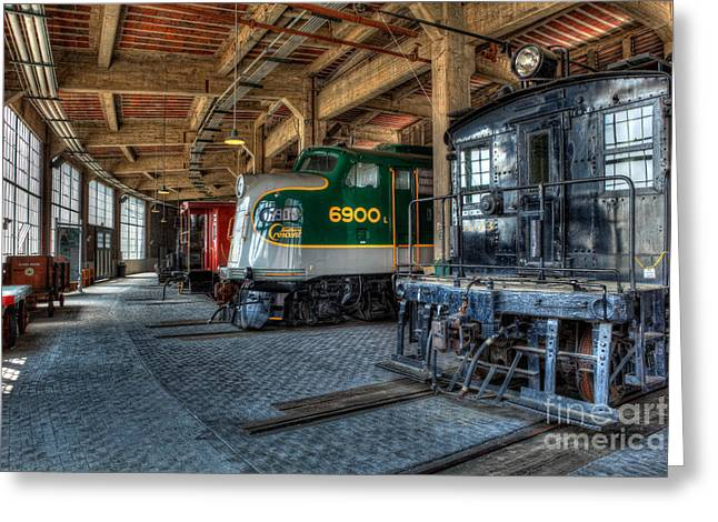 Trains - Engines Railcars Caboose In The Roundhouse Greeting Card by Dan Carmichael