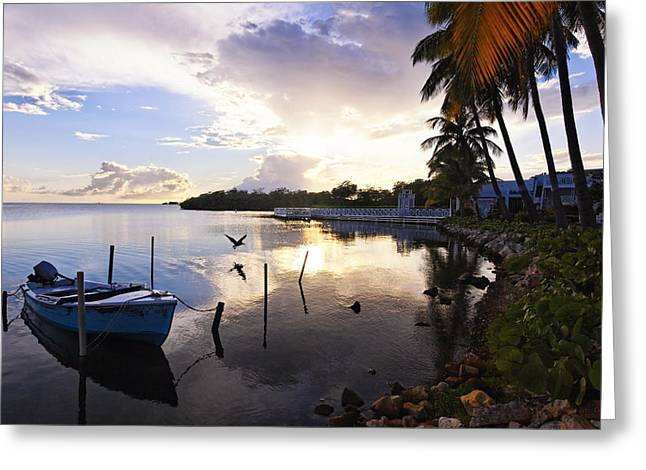 Tranquil Sunset In A Fishing Village Greeting Card by George Oze