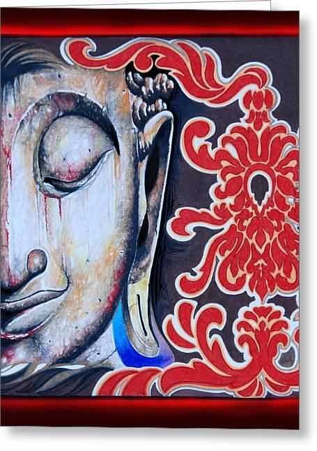 Tranquility Buddha Greeting Card by Litos