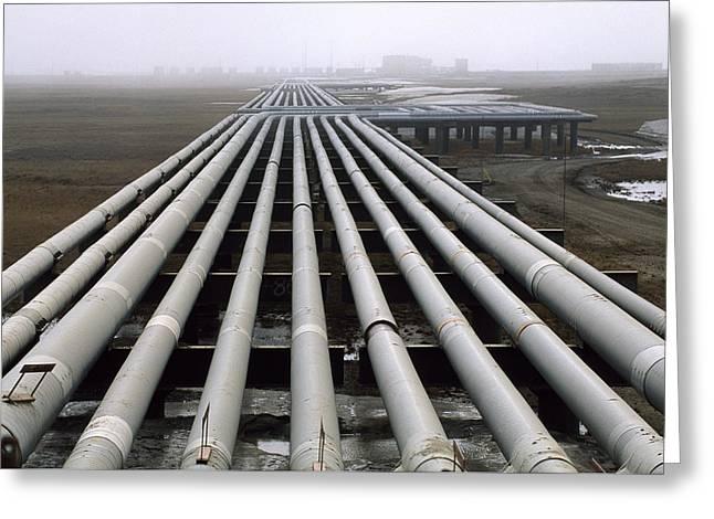 Trans-alaska Pipelines At An Oil Field Greeting Card