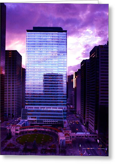 Greeting Card featuring the photograph Transalta Building Purple by JM Photography