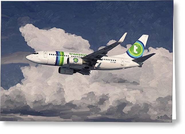 Greeting Card featuring the painting Transavia Boeing 737 by Nop Briex