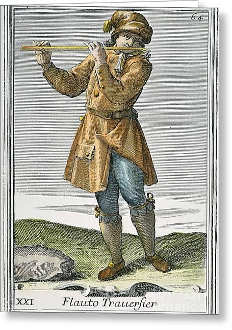 Transverse Flute, 1723 Greeting Card