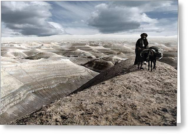 Traveling Through The Desert Greeting Card by Munir Alawi