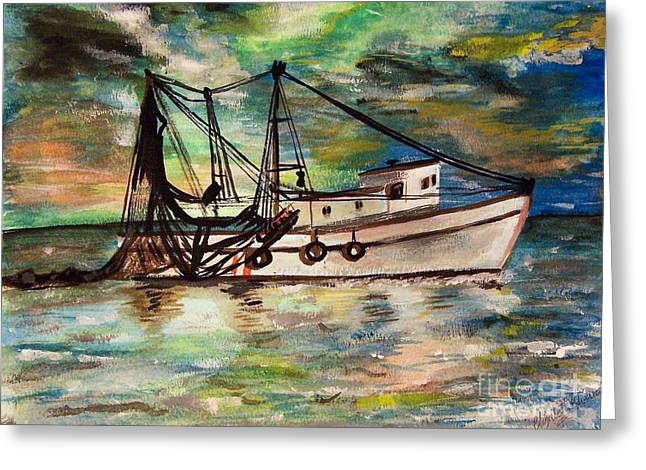 Trawling Greeting Card by Isabella F Abbie Shores FRSA