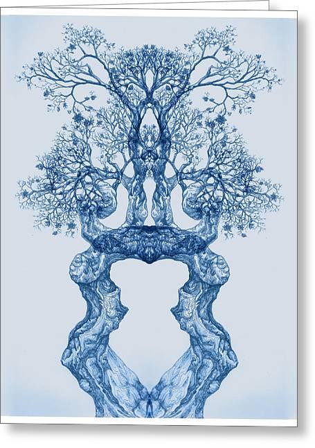Tree 14 Blue 2 Greeting Card