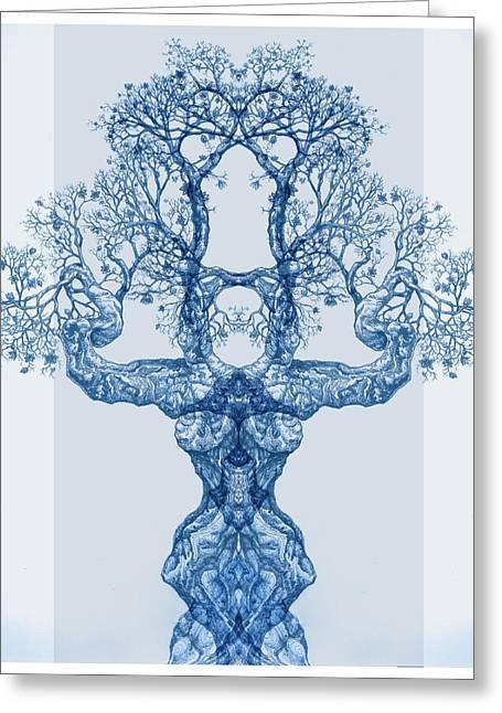 Tree 14 Blue 4 Greeting Card