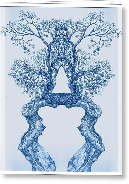 Tree 14 Blue 8 Greeting Card