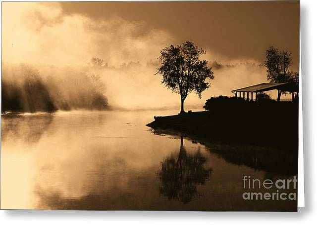 Tree Midst The Fog- Sepia Greeting Card by Gina Collins