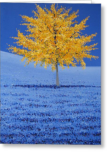 Tree Of Gold Greeting Card by Shawn Hughes