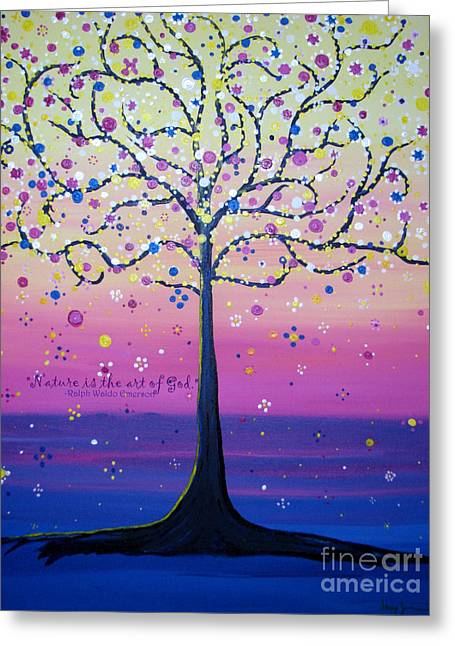 Greeting Card featuring the painting Tree Of Inspirations by Stacey Zimmerman