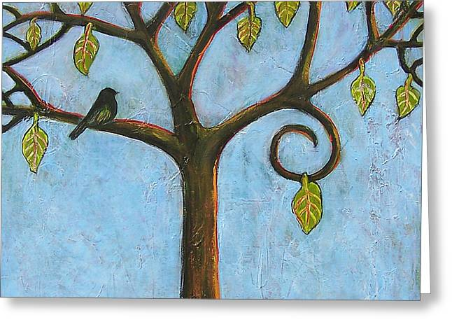 Tree Of Life Blue Sky Greeting Card by Blenda Studio