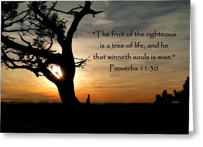 Tree Of Life Of Proverbs 11 Greeting Card