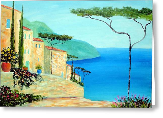 Trees Of The Mediterranean Greeting Card by Larry Cirigliano