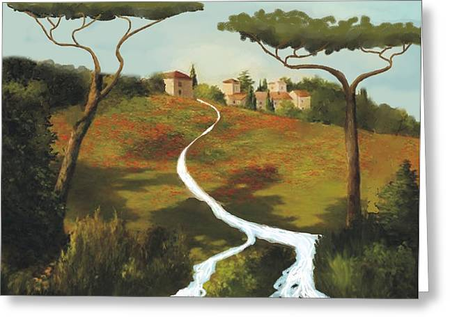 Trees Of Tuscany Greeting Card by Larry Cirigliano