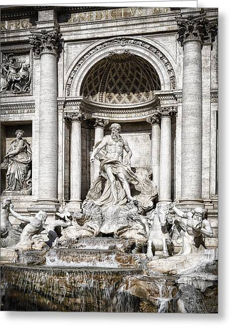 Trevi Fountain Detail Greeting Card by Joan Carroll