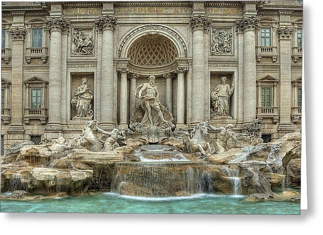 Trevi Fountain Greeting Card by Donna Lee Blais