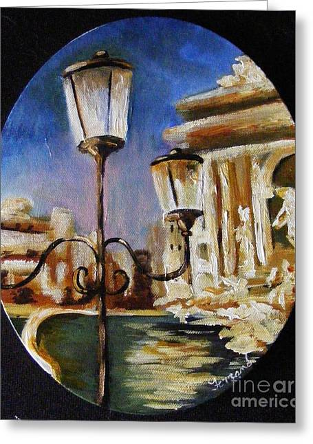 Greeting Card featuring the painting Trevi Fountain by Karen  Ferrand Carroll