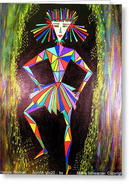 Triangle Woman Greeting Card by Marie Schwarzer